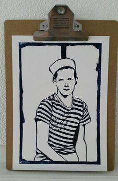 Sailor Boy - linocut