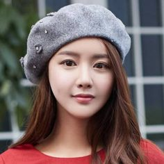 Rhinestones flower wool beret hat for women fashion winter hats