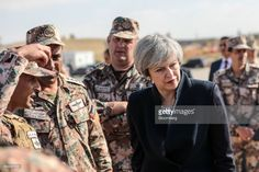 Theresa May, U.K. prime minister, speaks with soldiers during a visit to a Jordanian Army Base in Zarqqa, Jordan, on Monday, April 3, 2017. May began a visit to Jordan andSaudi Arabia on Monday, with the goal of building security and commercial ties. Photographer: Simon Dawson/Bloomberg via Getty Images