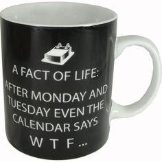 Facts of Life After Monday, Humorous Porcelain Mug PPD http://www.amazon.com/dp/B00F576O3K/ref=cm_sw_r_pi_dp_5slUtb14HJ5ZGTK2
