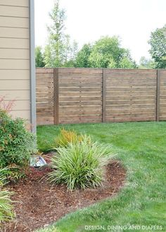 Horizontal Fence Design and Landscape Informations About Tips For Staining A Fence - Taryn Whiteaker Fence Art, Diy Fence, Backyard Fences, Garden Fencing, Backyard Landscaping, Fence Ideas, Backyard Privacy, Patio Ideas, Fence Panels Uk