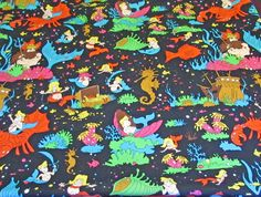 Under The Sea Fabric Mermaid Mermen Riding by Fraservalleyjewels