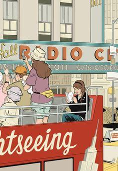 Na série New York Drawings, Adrian Tomine (que tem um estilo que me lembrou muito o Daniel Clowes) mostra estranhos que cruzam olhares no metrô, olhares melancólicos perdidos na paisagem urbana, a turista que tira uma foto, e outros personagens que mesmo sozinhos, estão inevitavelmente conectados.