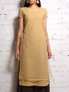 Beige Chanderi Double-Layer kurta With Tie-Up Knots