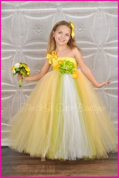 Lemon Zest (Yellow) and Chartreuse Flower Girl Tutu Dress