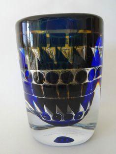 Orrefors Ingeborg Lundin Blue Ariel Vase in Circle and Triangle Pattern 1974