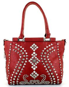 Smooth Leatherette Stud Decorated Tote Bag MORE COLORS