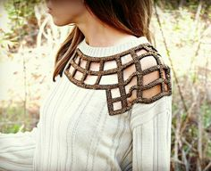 Trash To Couture: DIY Embellished Sweater using an old sweater and applique Trash To Couture, Old Sweater, Sweaters, Cable Sweater, Jumper, Diy Fashion Projects, Sewing Projects, Diy Projects, Sewing Tutorials