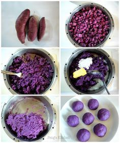 Purple sweet potato filling for mooncakes or mochi