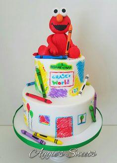 Elmo/Sesame Street Birthday Cake Sesame Street Birthday Cakes, Elmo Birthday Cake, Sesame Street Cake, Elmo Cake, 1st Boy Birthday, First Birthday Parties, Birthday Party Themes, First Birthdays, Birthday Ideas