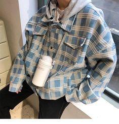 [Men] Plaid Hooded Coat Jacket – Outfit Looks Retro Outfits, Cool Outfits, Casual Outfits, Male Outfits, Look Fashion, Korean Fashion, Fashion Outfits, Fitness Bodybuilding, Vetement Fashion