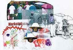 ARTS THREAD Profile - ARTS THREAD Fashion Illustration Collage, Illustration Story, Fashion Collage, Fashion Design Sketchbook, Fashion Design Portfolio, Sketchbook Layout, Sketchbook Inspiration, Collages, Flower Doodles