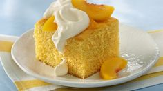 With a fruity and creamy topping, this pretty golden cake is just peachy when…