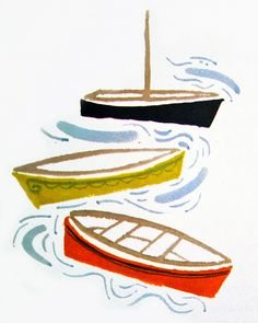 I love the simplicity of this illustration. Boats From Gift from the Sea by Anne Morrow Lindbergh, Illustrated by George W. Boat Illustration, Art Illustrations, Diy And Crafts, Arts And Crafts, Zentangle, Nautical, Art Projects, Design Inspiration, Crafty