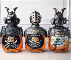 ✨Gold & Gold Pot Still Blended Japanese Whisky Trio! Love these Samurai Warrior Bottles! Alcohol Bottles, Liquor Bottles, Drink Bottles, Nikka Whisky, Cigars And Whiskey, Bourbon Whiskey, Scotch Whisky, Tequila, Cocktails