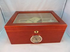 New Savoy Large Mahogany Glass Top Bubinga Cigar Humidor Hygrometer Cedar Lined #Savoy