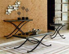 Santiago Occasional Grey Wood Metal Coffee Table Set