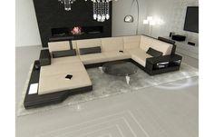 #Design #Stoff #Wohnlandschaft Materialmix MESSANA U-Form - Exklusiv bei #Sofa Dreams
