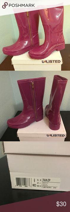 Berry Color Rain Boots NEW size 6 Brand new in the box never been worn Unlisted by Kenneth Cole Berry color Zip Rain boots (zipper is fake does not really zip) Women's US size 6 Unlisted Shoes Winter & Rain Boots
