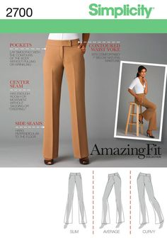 Simplicity : 2700.  I may have been too hasty in purchasing this pattern.  I would like to own some pinstripe pants, maybe these would work for that...