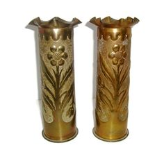 Vintage trench art vases WWI pr brass shells by SelectiveSalvage, $180.00
