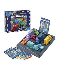 Rush Hour has been a favorite game for years—and with good reason. Players will set up the game board according to pictures of traffic jams displayed on challenge cards, then slide blocking cars and trucks out of the way. This strategic thinking game will keep kids entertained even during long car rides.   CHOKING HAZARD: Small parts. Not for children under 3 years