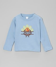 Take a look at this Light Blue Turkey Personalized Tee - Infant, Toddler & Kids by Lollypop Kids Clothing on #zulily today!