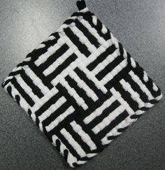 Log Cabin Black and White Woven Potholder by DoorsiDell on Etsy
