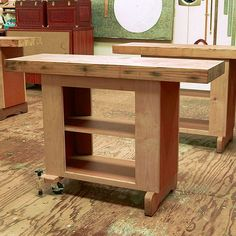 Woodworking Bench Mobile Utility Bench Woodworking Plan from WOOD Magazine Woodworking Bench Plans, Workbench Plans, Easy Woodworking Projects, Popular Woodworking, Woodworking Tools, Wood Projects, Garage Workbench, Woodworking Machinery, Workbench Organization