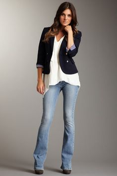 frankie b. Desire F Slim Bootcut Jeans.. Love this casual look