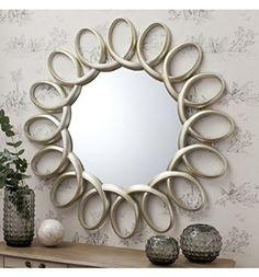 "Auckley Large Round Wall hallway Contemporary Mirror Bright Silver/Gold wash 47"" Diameter"