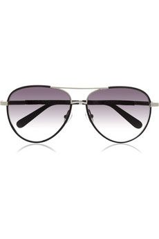 The Row Leather-trimmed aviator-style metal sunglasses | NET-A-PORTER