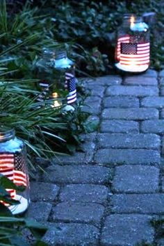 painted flag candle jars