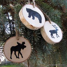 Woodland Animal Birch Tree Ornaments  Made from fallen birch limbs surrounding me here in southern New Hampshire, these ornaments are perfect to