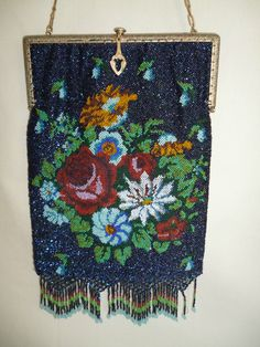 Antique Multicolor Floral Iridescent Blue Micro Beaded Purse with Fringe and Goldtone Frame