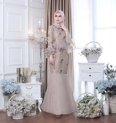 @judith.id Dress Brukat, Hijab Dress Party, Batik Dress, Tulle Dress, Dress Brokat Muslim, Dress Pesta, Muslim Dress, Model Dress Kebaya, Kebaya Modern Dress