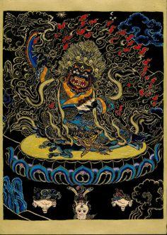 """Mahakála az egyik legnépszerűbb tibeti védelmező. Legtöbbször fekete színben ábrázolják, hiszen a fekete az, melybe minden más szín eltűnik, beleveszik így aztán a fekete Mahakála az melybe minden név és forma beleolvad, egyetlen megtestesülésként hangsúlyozva az ő mindent átölelő, mindenre kiterjedő természetét. A fekete szín így  a végső és egyetlen valóságot jelképezi. Egy 2011. június, http://www.buddhapest.hu/2012/11/nyolc-dharmapala.html#sthash.aJKZCb7H.dpuf"""""""
