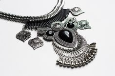 """The """"Nyx"""" necklace from the Black Collection. This a great statement piece and the girls love wearing this on a night out!"""