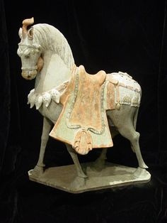 Grey pottery horse of elegant form, Northern Qi Dynasty, 550-577 AD.