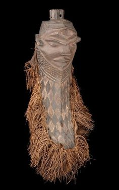 Africa | A mask from the Pende people of DR Congo | ca. 19th to early 20th century | Wood, pigment and fibers.