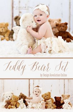 Soft, comfy, and timeless, this Teddy Bear Set is the perfect baby photography prop.