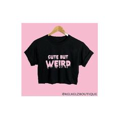 Cute But Weird Text Black Baggy Crop Top Emo Hipster Pastel Goth... ❤ liked on Polyvore featuring tops, gothic tops, pastel goth shirts, goth crop top, gothic shirts and shirt top