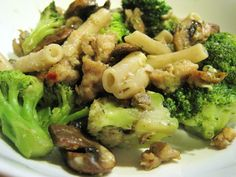 Penne Pasta with Italian Chicken Sausage, Mushrooms, & Broccoli. A quick and delicious family meal created by MrsNick!