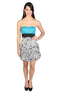 zebra print satin pickup party dress