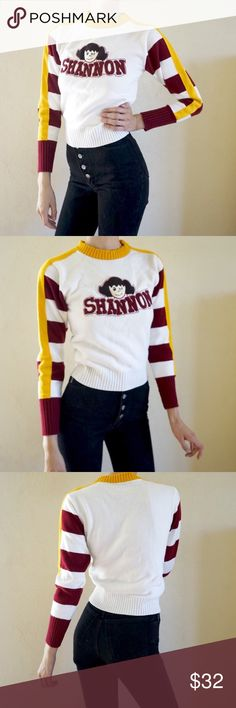 """Shannon"" vintage cheer style sweater Are you Shannon? Is there a Shannon in your life that you love enough to wear a sweater about her(or him, I know a male Shannon actually). My personal fave Shannon is @shpauline. Whatever reason you wear this, you are guaranteed to look cool. Cheerleader style sweater. Vintage, made in USA. barely worn condition. Has a super faint mark on the front but honestly NBD at all (see last pic). Fits women's S best. Vintage Sweaters"