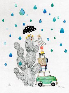 Cactus and rain