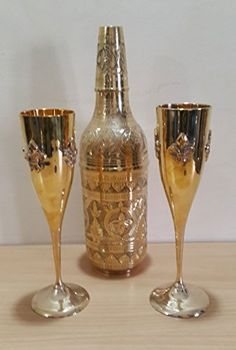 Handmade Vintage Decorative Set of 2 Cocktail Glasses 1 Pitcher Vessel for Home Kitchen and Dining Centerpiece Decor Made in India with Solid Brass Material Gold pack of 3 >>> Read more  at the image link.