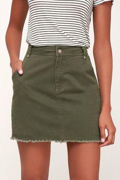 State Fair Olive Green Denim Mini Skirt