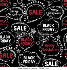 Black Friday. Hand drawing speaking bubbles. Seamless pattern. Black background. Vector illustration.