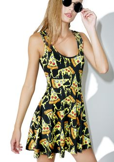 Sourpuss Clothing Pizza Party Skater Dress cuz it ain't nothing but a pizza partyyy. This deliciously cheesy sleeveless dress is serving up some hotness. Featurin' an amazing all over pizza pattern with dripping gooey cheese and skull toppings that's gonna make ya feel super fresh. With an eXXXtra soft stretchy material this comfy BB has a classik scoop neckline and skater skirt that swings with each step, so yer gonna look cute even after a few too many slices.